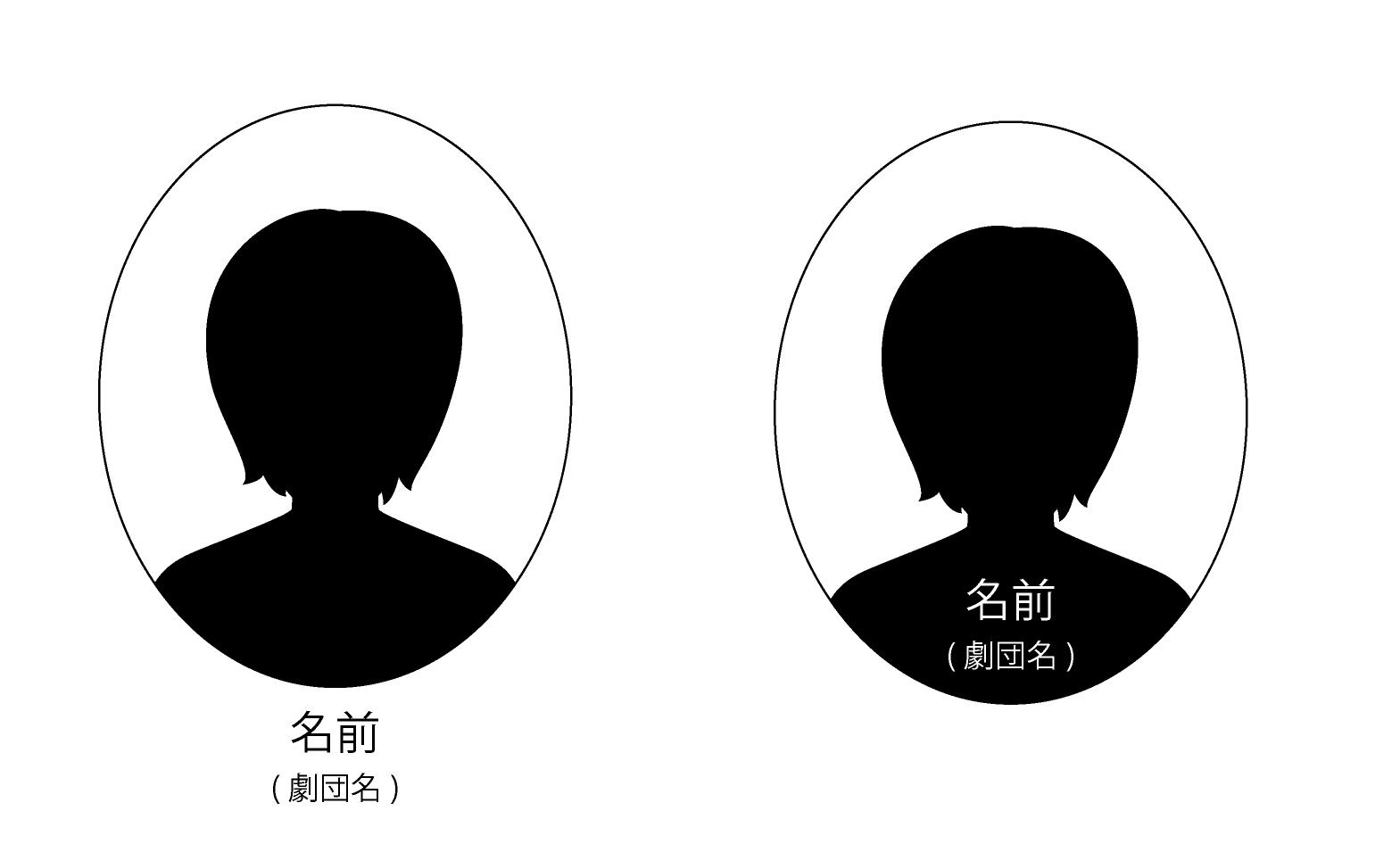 演劇のチラシの出演者紹介のデザイン 楕円形